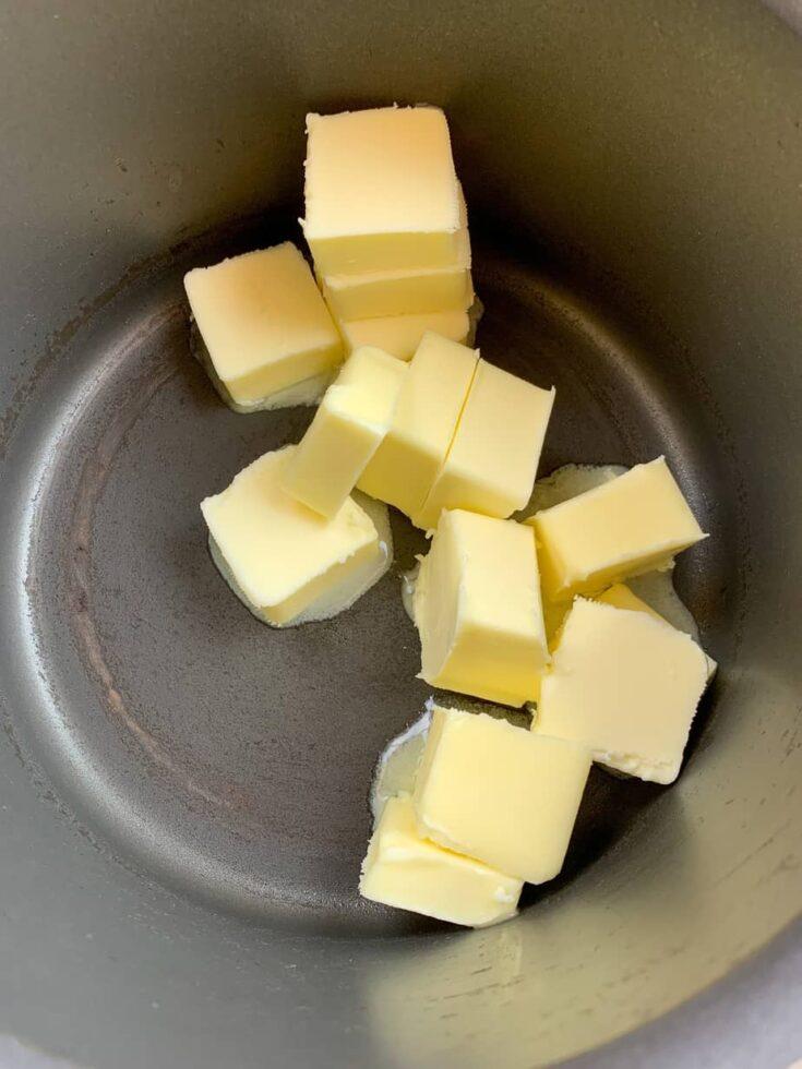 Cubes of butter in a saucepan