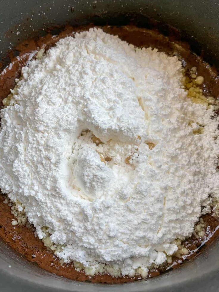 Powdered sugar in a saucepan