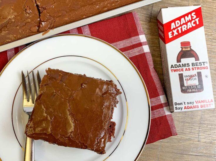 Chocolate cake with Adams Extract vanilla