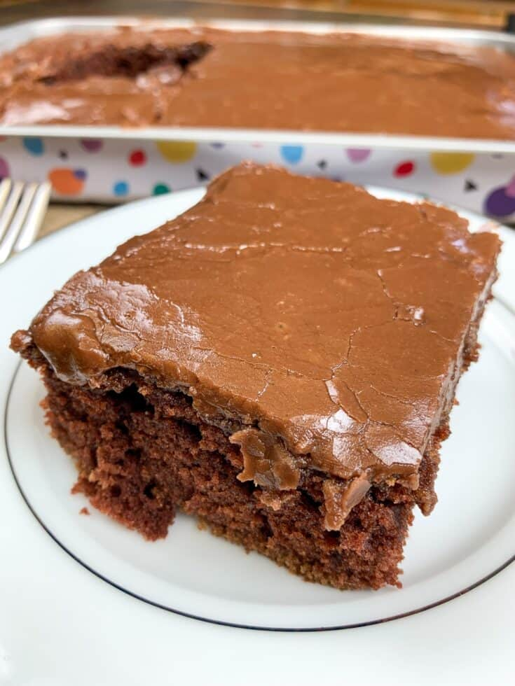 There's nothing better than a slice of buttermilk chocolate cake with a creamy and chocolatey buttermilk icing. This buttermilk cake recipe is an easy dessert to make and always turns out moist and delicious. #easy #recipe #moist #decadent #fromscratch