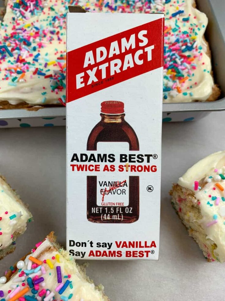 Adams Best Vanilla Extract in a box next to cookie bars