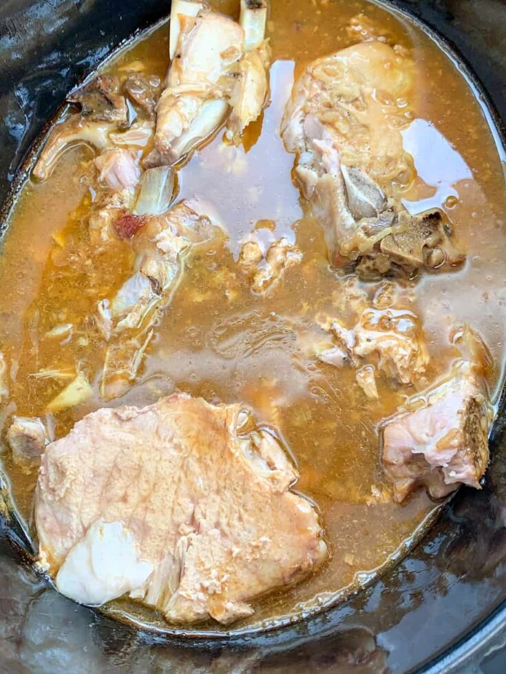 Pork chops in a slow cooker with gravy