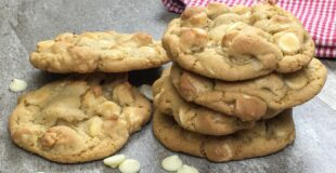White chocolate macadamia nut cookies on a counter