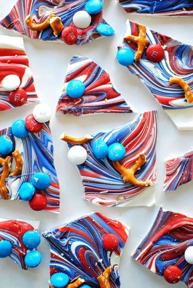 Red, White, and Blue Candy Bark