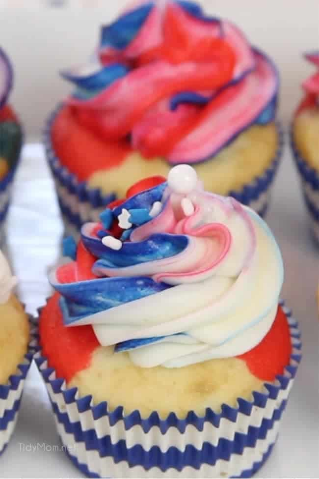 Red White and Blue Cupcakes
