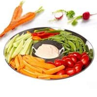 Chip and Dip Serving Bowl, Elegant Serving Dish - Great for Chips, Dips, Appetizer, Fruit Bowl, Salad and Snack – Stainless Steel Chips and Dip Plate