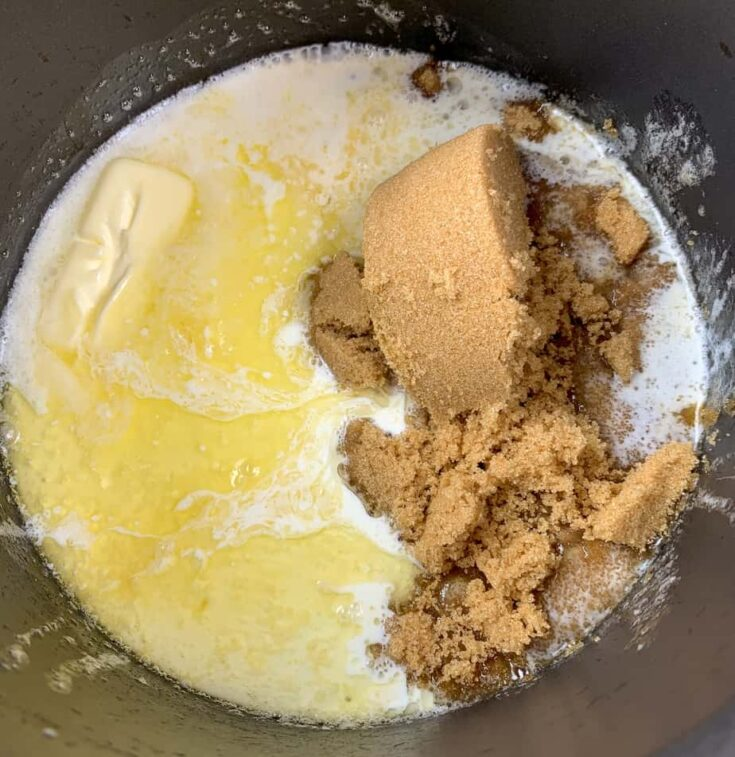 Brown sugar, butter, and heavy cream in a saucepan