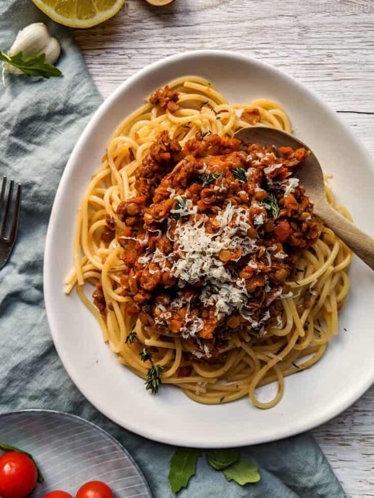 Delicious One-Pot Red Lentil Bolognese