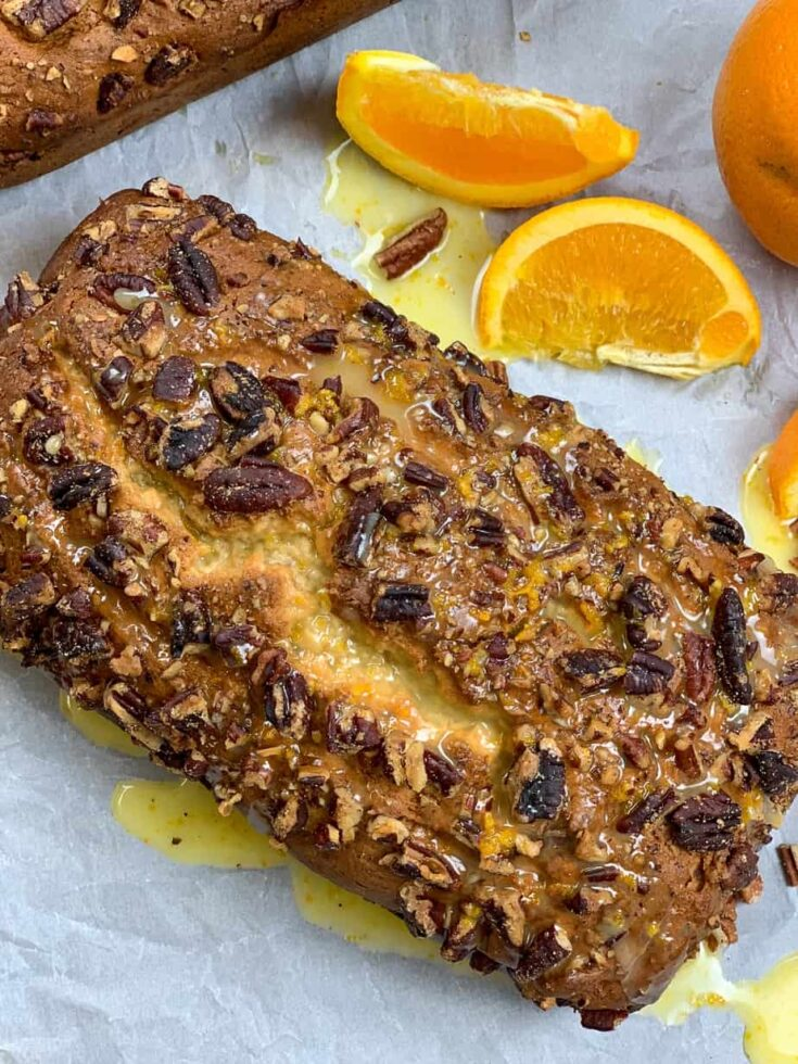 Banana nut bread with pecans and oranges.