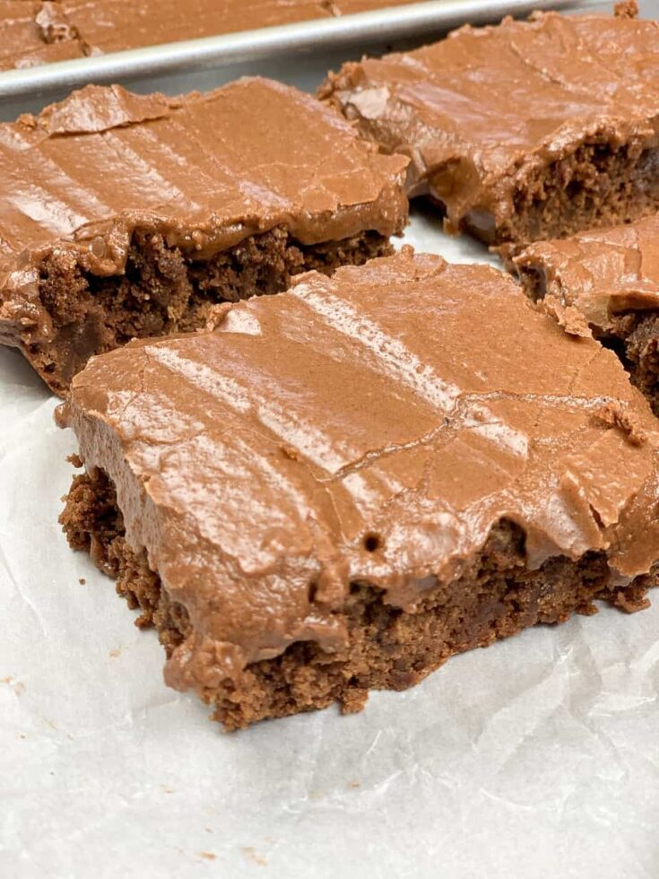Lunch lady brownies on parchment paper