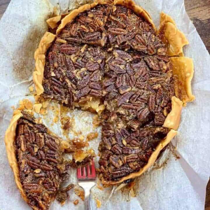 Pecan pie on parchment paper
