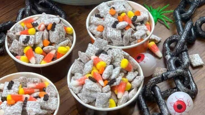 Muddy buddies in a bowl with Halloween deocrations