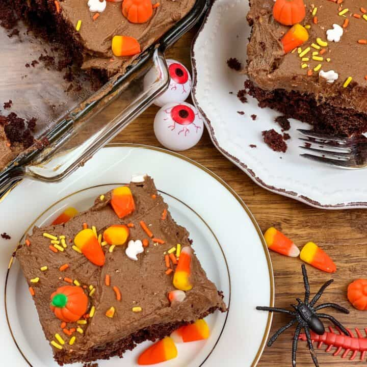 chocolate cake on a plate with Halloween decorations