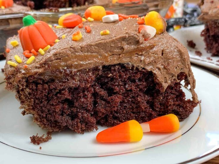 Halloween cake on a plate with candy
