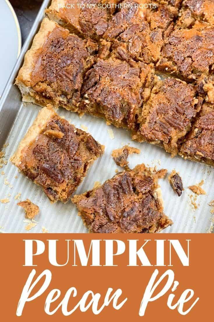 Pumpkin pecan pie is the perfect dessert for the Thanksgiving and Christmas holidays. If you can't decide between pumpkin pie or pecan pie, you can now have both. The bars are easy to make and combine the rich and seasonal flavors of pumpkin and candied pecans. #easy #recipe