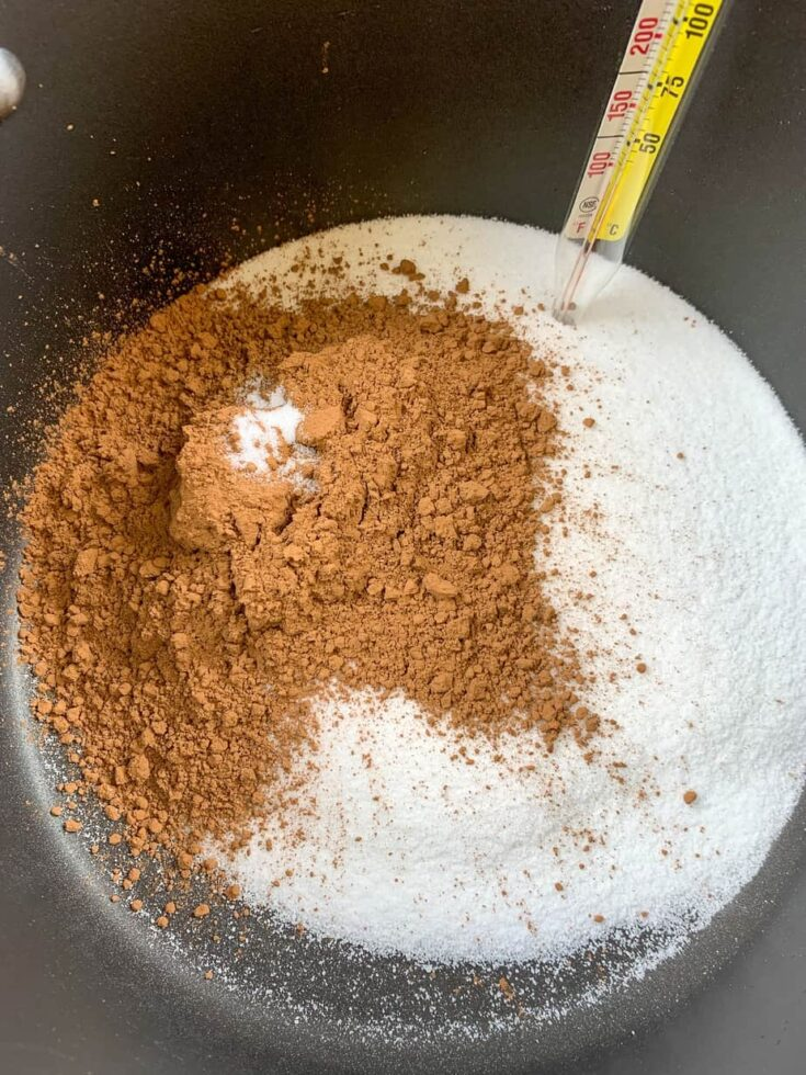 Sugar, cocoa, and salt in a saucepan.