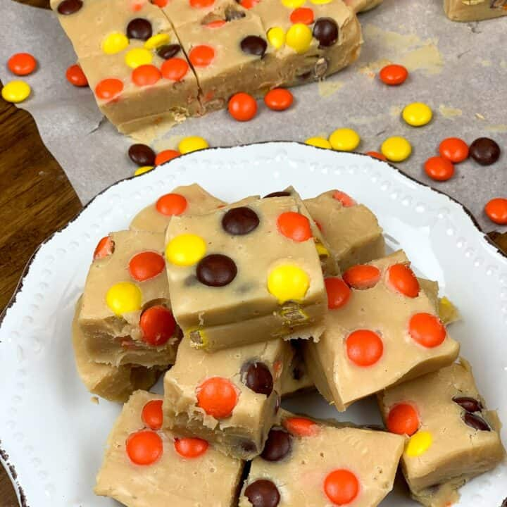 Reese's peanut butter fudge on a plate