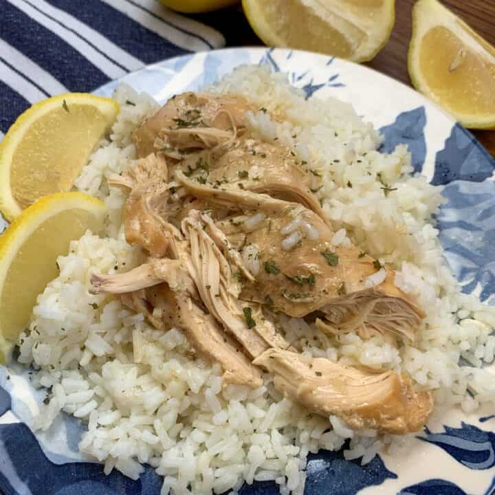 Chicken and rice on a plate.