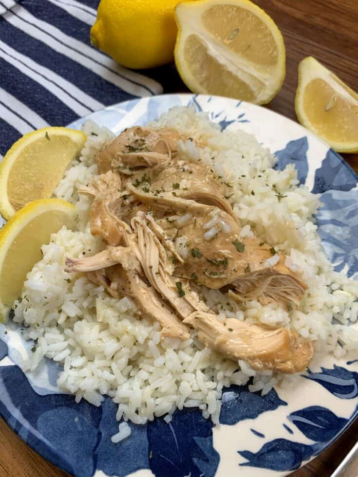 This Crock Pot lemon chicken dinner recipe is an easy, budget-friendly meal for a family of two or four. Just add the chicken breasts, broth, milk, lemon juice, garlic, and butter to a slow cooker and let it cook for a few hours. It's so easy to make and you'll most likely have leftovers. This will quickly become one of your favorite crockpot dinners.