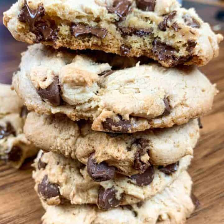 Chocolate chip banana cookies stacked on top of each other