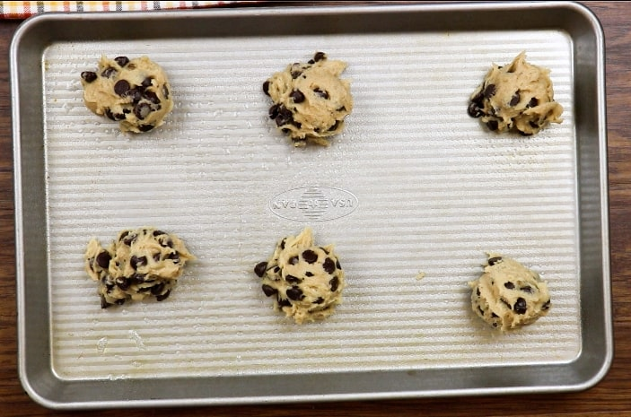 Chocolate chip banana cookies on a cookie sheet
