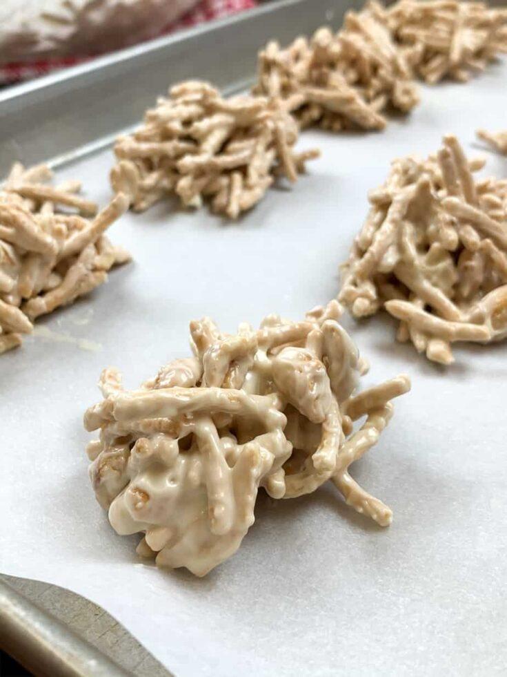 Haystack cookies on a cookie sheet