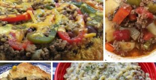 Four pictures of ground beef recipes