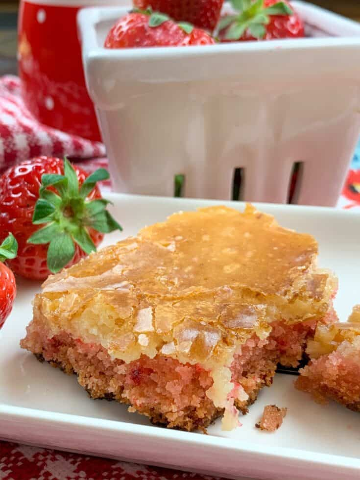 Strawberry chess squares on a plate