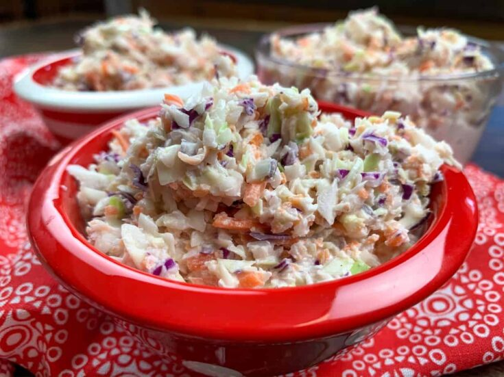 Crack coleslaw in a red bowl
