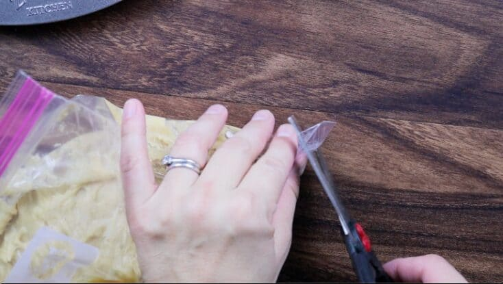 Cutting the end off of a large ziplock back with scissors