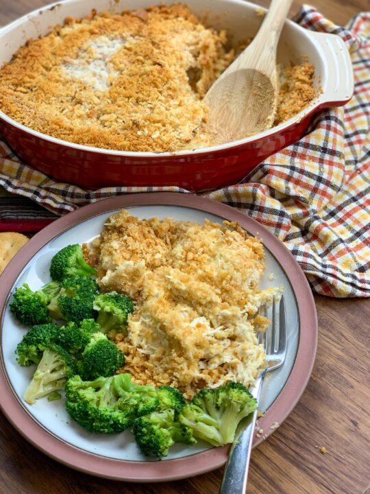 Baked Ritz Cracker chicken casserole on a plate.