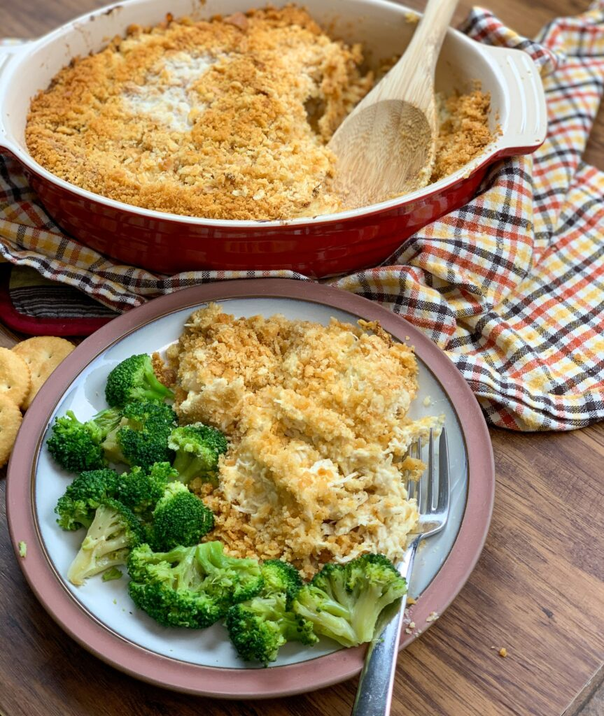 Baked Ritz Cracker chicken casserole on a plate.