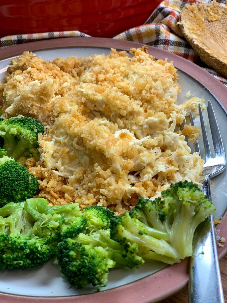 Ritz Cracker chicken on a plate with broccoli