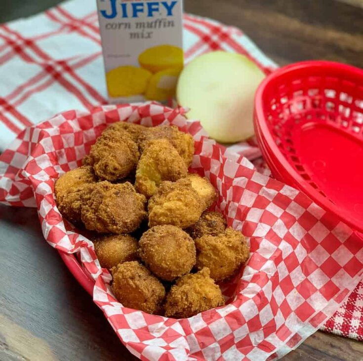 Hush puppies in a basket with red and white checked paper