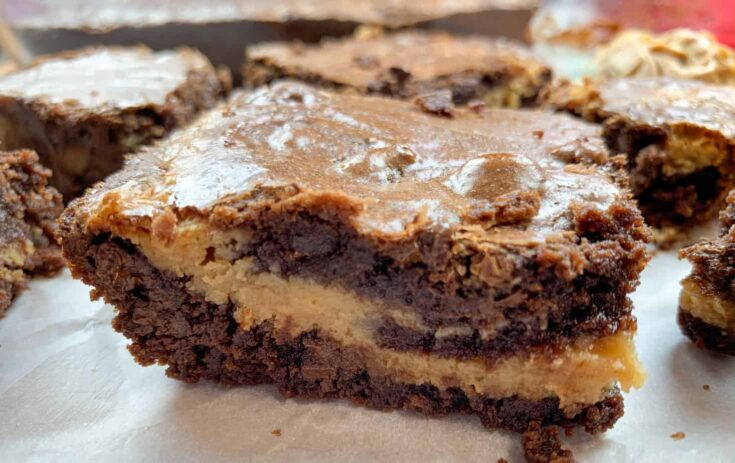 A peanut butter buckeye brownie on a counter
