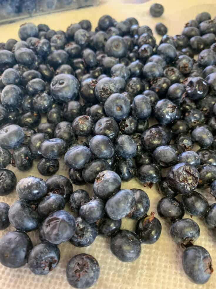 Picture of blueberries on a paper towel.