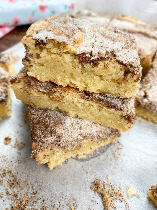 Snickerdoodle bars stacked on top of each other
