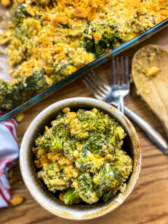 Broccoli casserole in a bowl.