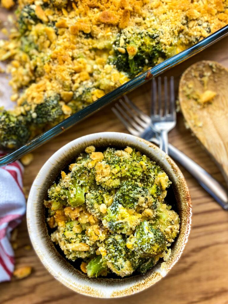 Broccoli casserole in a bowl.