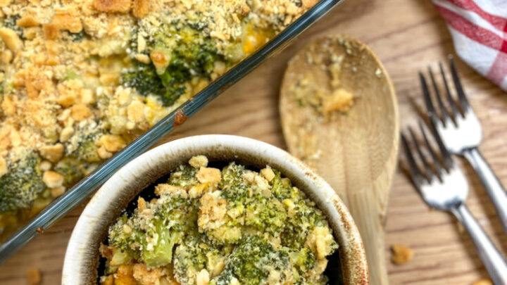 Broccoli and cheese casserole in a bowl.