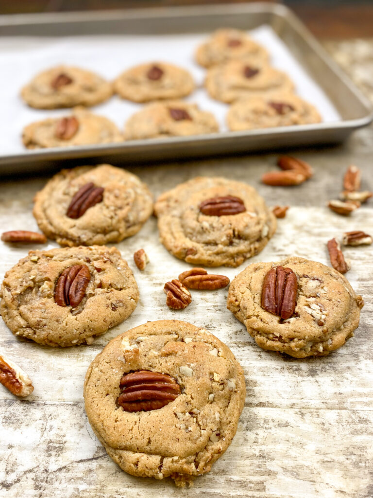 Pecan cookies on the counter.