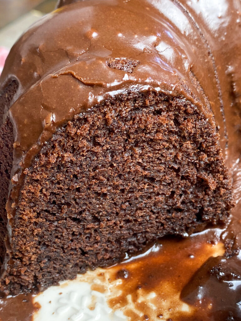 Chocolate icing on brownie cake.