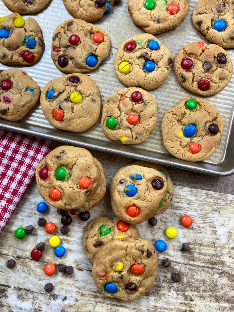 M&M Cookies on a cookie sheet