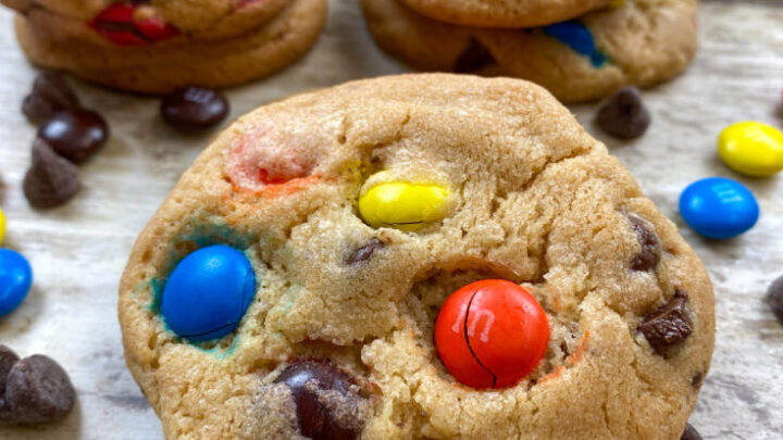 Chocolate chip M&M Cookies on a counter