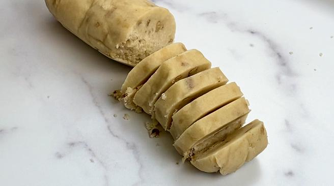 Slices of pecan sandies dough.