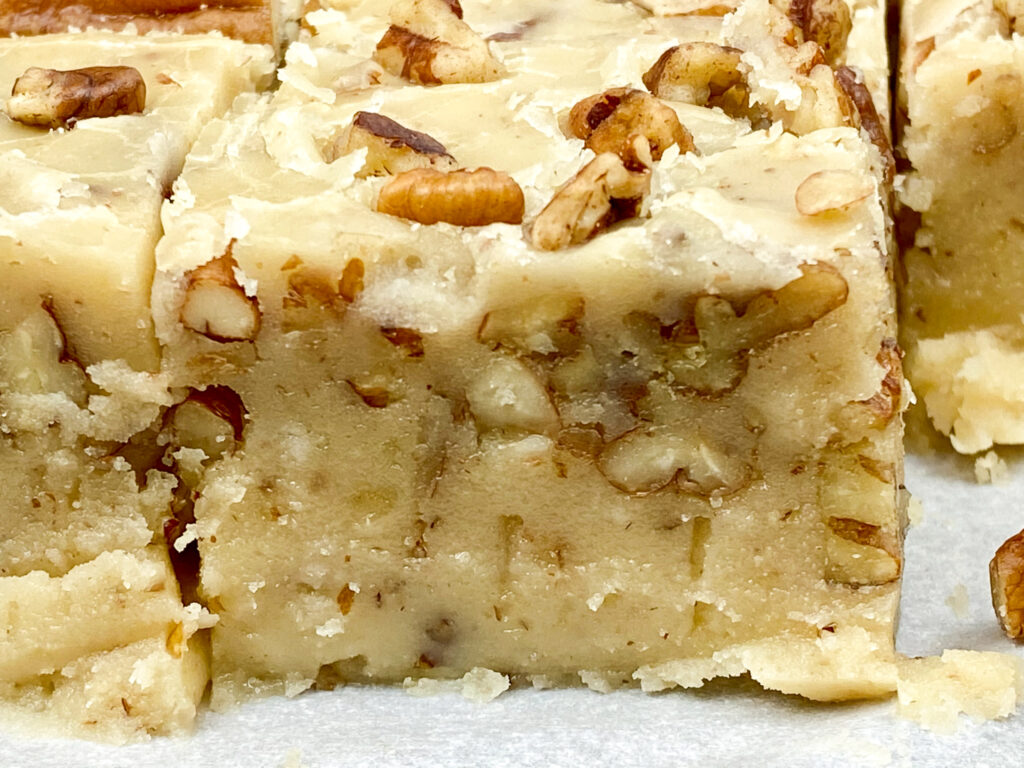 A piece of butter pecan fudge
