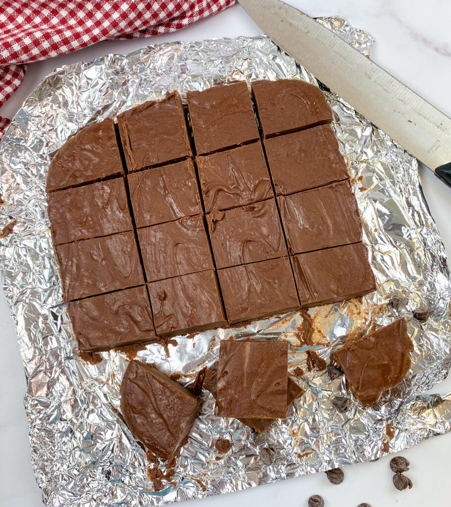Slices of fudge on a piece of tinfoil.