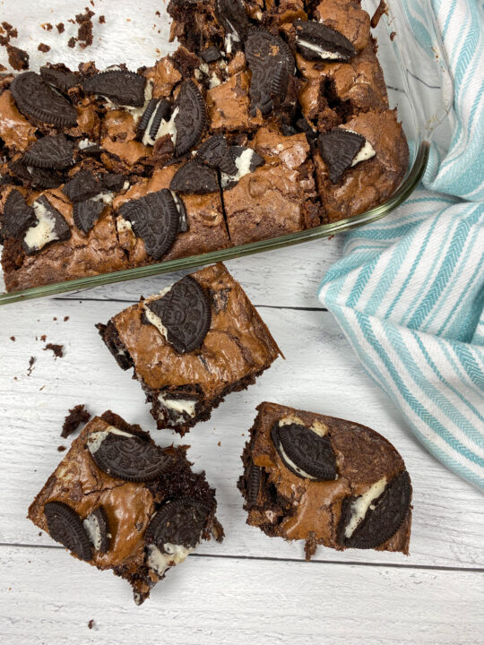 Oreo Brownie pieces on the counter.