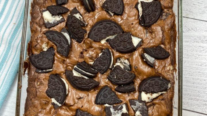 Oreo Brownies in a baking dish.
