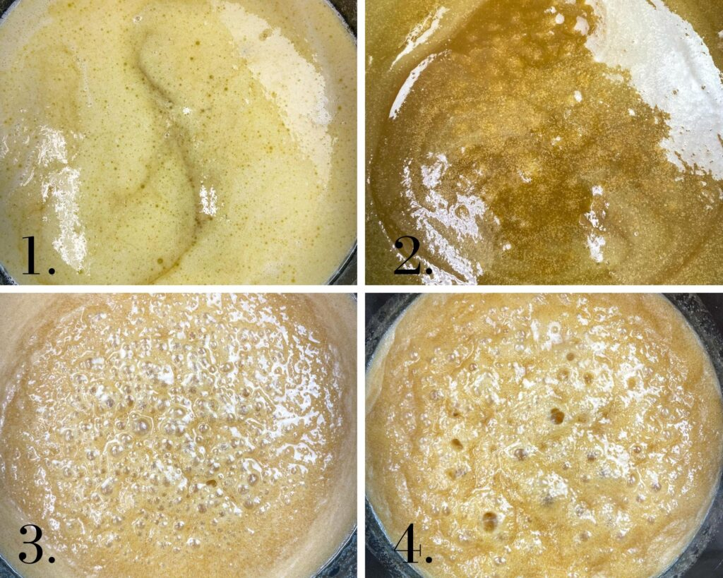 Four pictures of boiling sugar and butter.